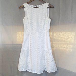 Liz Claiborne white eyelet pattern dress